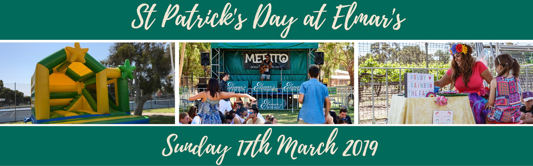 St Patrick's Day at Elmar's in the Valley. Sunday 17th March 2019. Banner Image