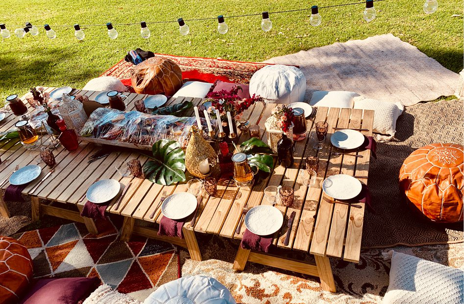 outdoor picnic set up